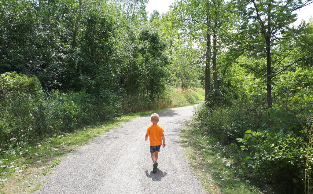 The Red Hill Valley Trail runs along the Red Hill Creek and is one of the great trails for kids in Hamilton, ON.
